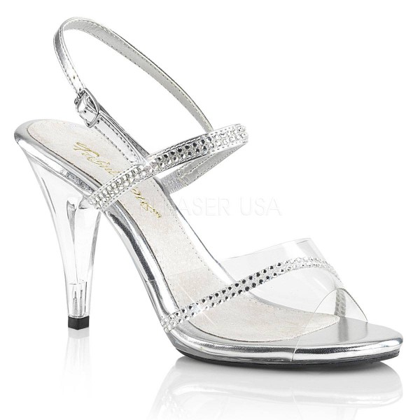 CARESS 439 ° Damen Sandalette ° Transparent Silber Matt ° Fabulicious