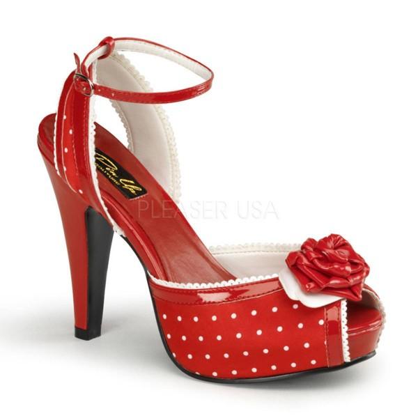 on sale caeea b9b20 BETTIE 06 ° Damen Sandalette ° Rot Weiß Satin ° Pin Up Couture