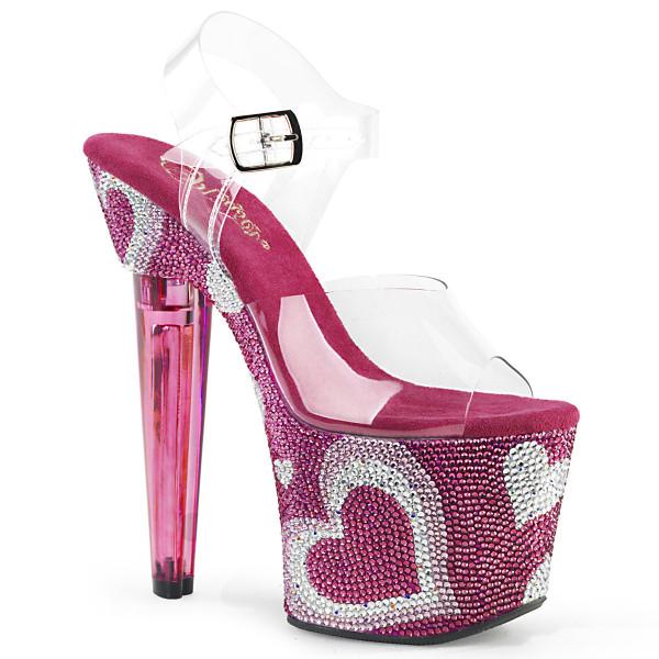 LOVESICK-708HEART ° Plateau Exotic Dancing Damen Sandale ° Transparent ° Hot Pink Weiß Straßsteine °