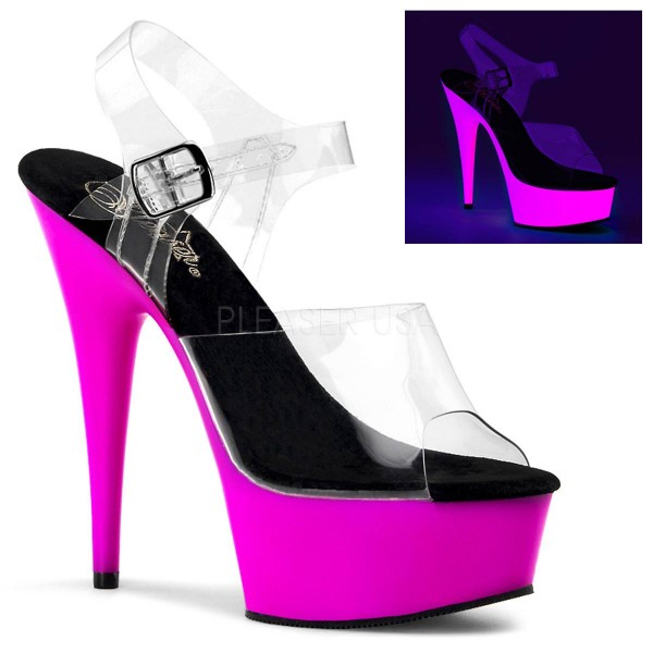 DELIGHT 608UV ° Damen Sandalette ° Transparent Matt ° Pleaser
