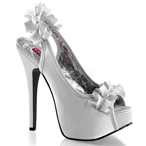 TEEZE 56 ° Damen Peep Toe Sandalette ° Silber Satin ° Bordello
