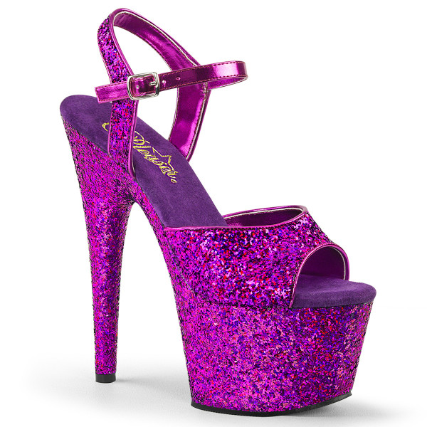 ADORE-710LG ° Plateau Exotic Dancing Damen Sandale ° Violett Glitter holografisch ° Pleaser