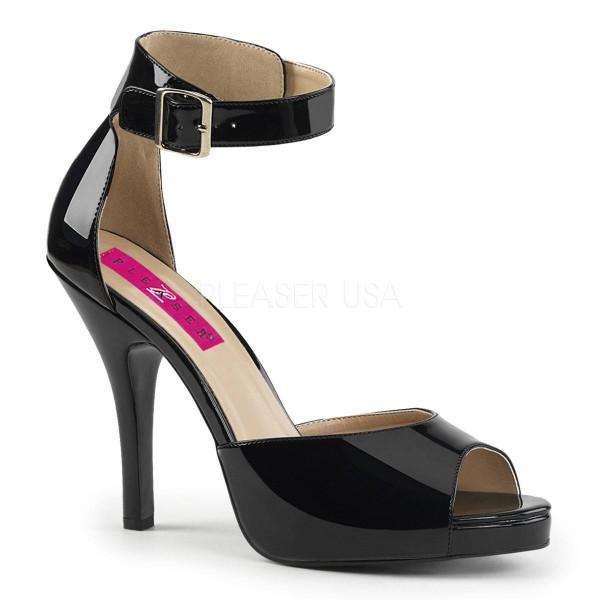 EVE 02 ° Damen Sandalette ° SchwarzGlänzend ° Pleaser Pink Label