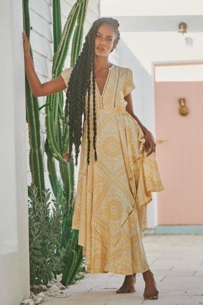 Jaase ° Tigris Print Champagne Dress ° Gelb