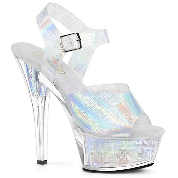 KISS-208N-CRHM ° Plateau Exotic Dancing Damen Sandale ° Silber holografisch ° Pleaser