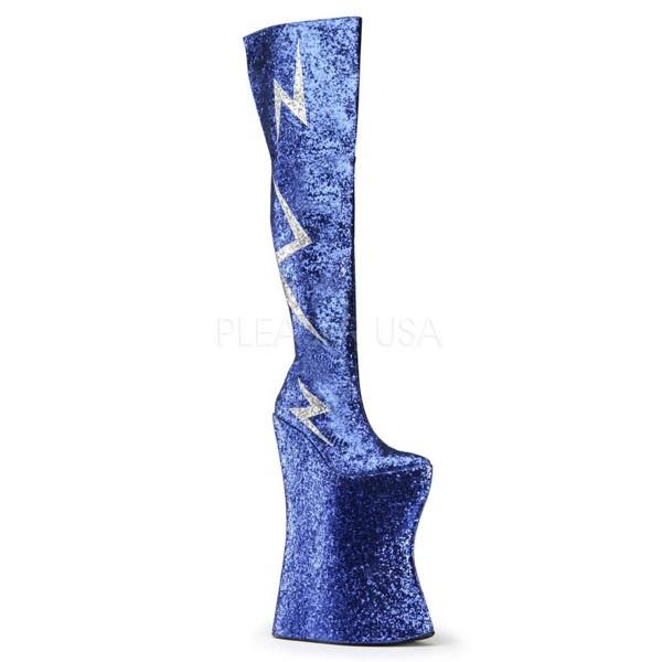 VIVACIOUS 3016 ° Unisex Stiefel ° Blau Silber Glitter ° Pleaser Pink Label