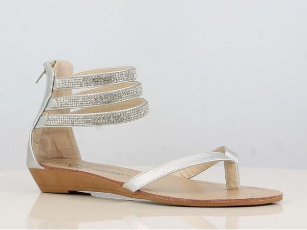 Peachyboo ° Ankle Strap Sandale mit Brilliantriemen ° Silber