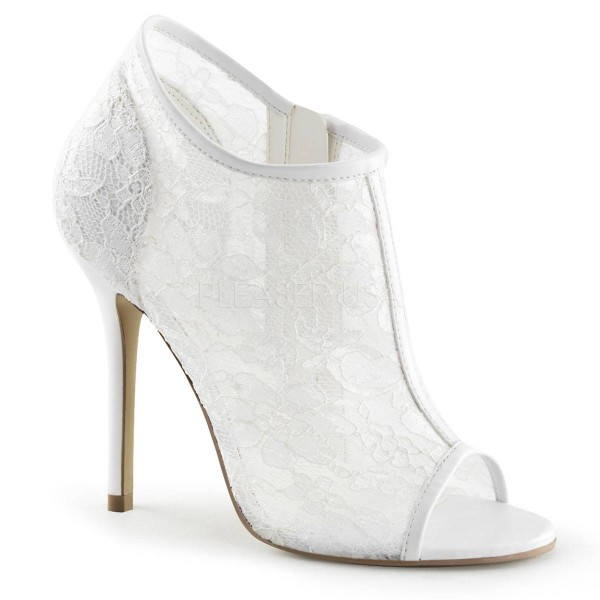 AMUSE 56 ° Damen Peep Toe Stiefelette ° Weiß Matt ° Fabulicious