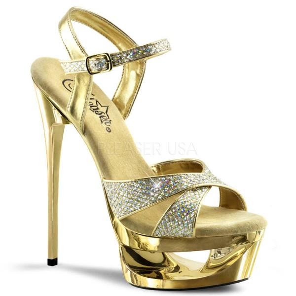 brand new ab5ed 04d70 ECLIPSE 619G ° Damen Sandalette ° Gold Glitter ° Pleaser