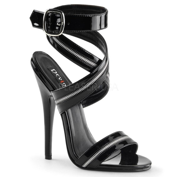 DOMINA 119 ° Damen Sandalette ° Schwarz Glänzend ° Devious
