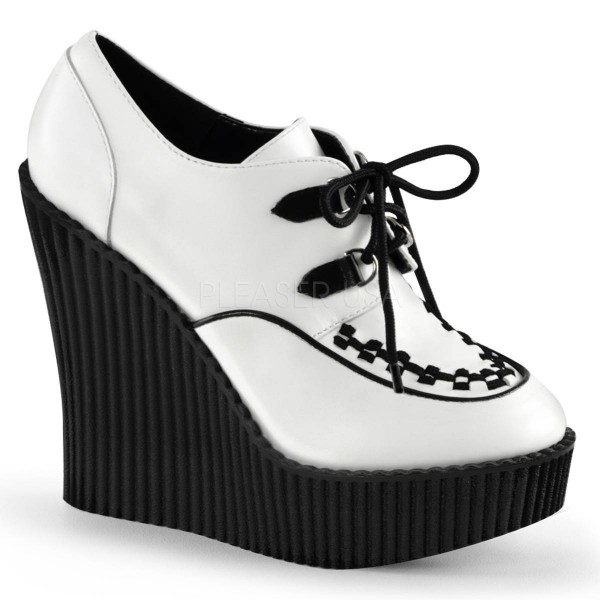 CREEPER 302 ° Damen Creeper ° Weiß Schwarz Matt ° Demonia