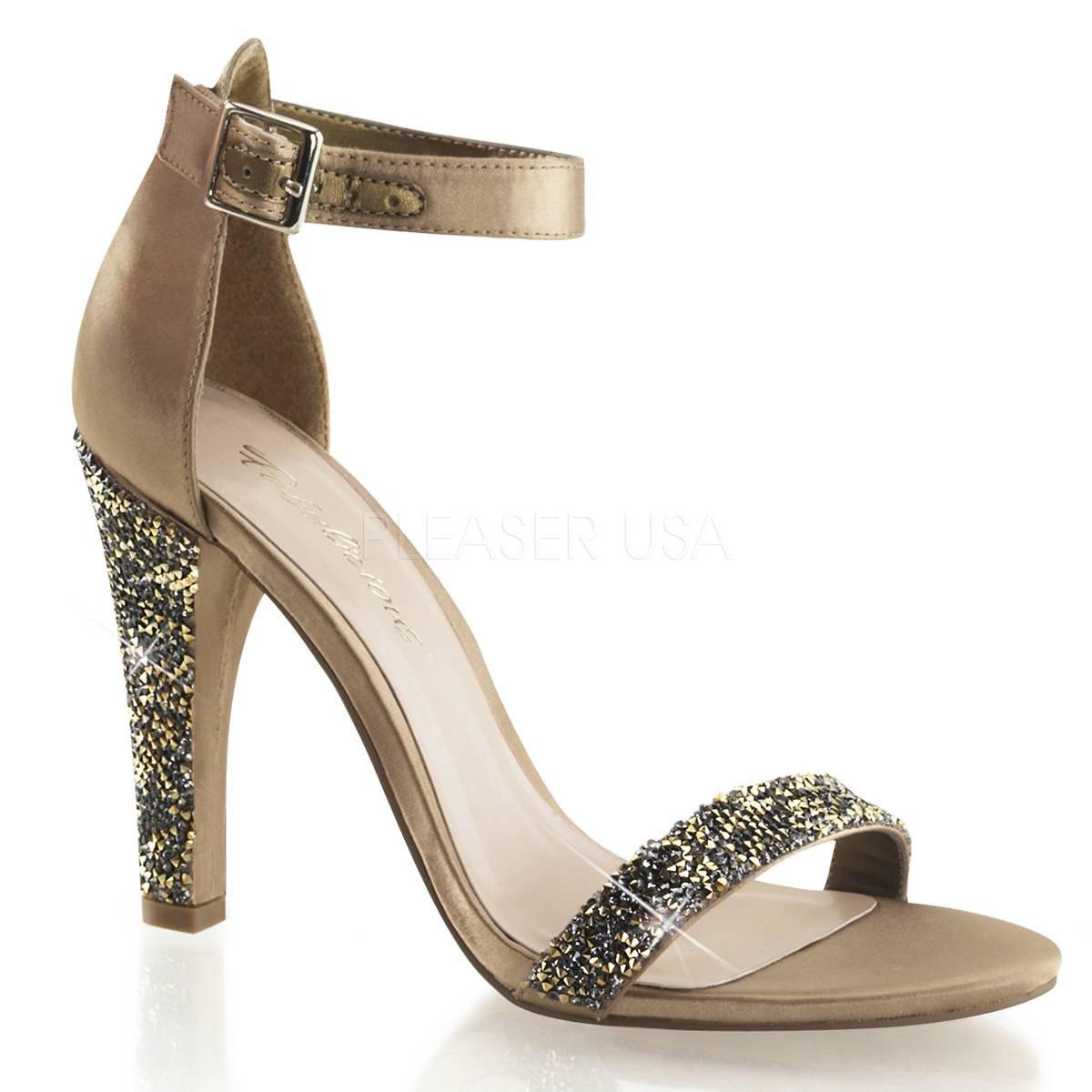 Sandalen - CLEARLY 436 ° Damen Sandalette ° Bronze Satin ° Fabulicious  - Onlineshop RedSixty