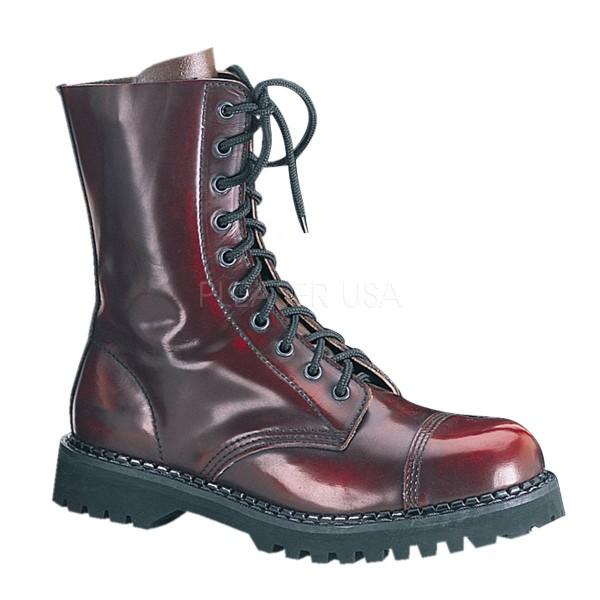 ROCKY 10 ° Unisex Combat Boots ° Rot Leder ° Demonia