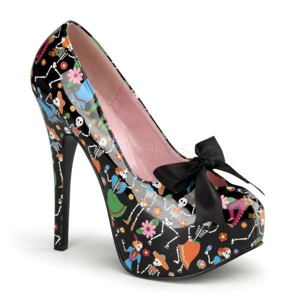 TEEZE 12 4 ° Damen Pumps ° Schwarz Mehrfarbig Glänzend ° Pin Up Couture