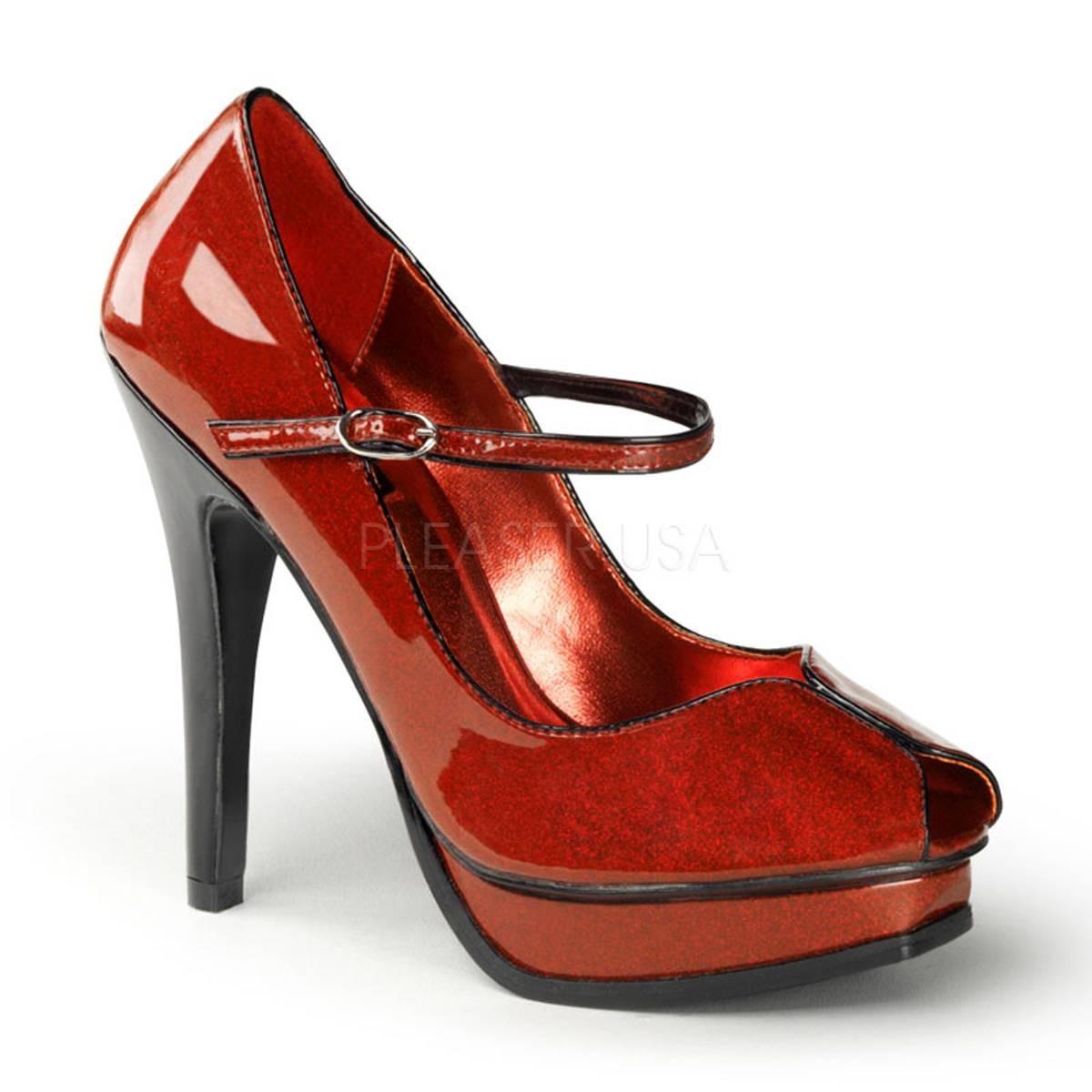 Highheels für Frauen - PLEASURE 02G ° Damen Peep Toe ° Rot Glänzend ° Pin Up Couture  - Onlineshop RedSixty