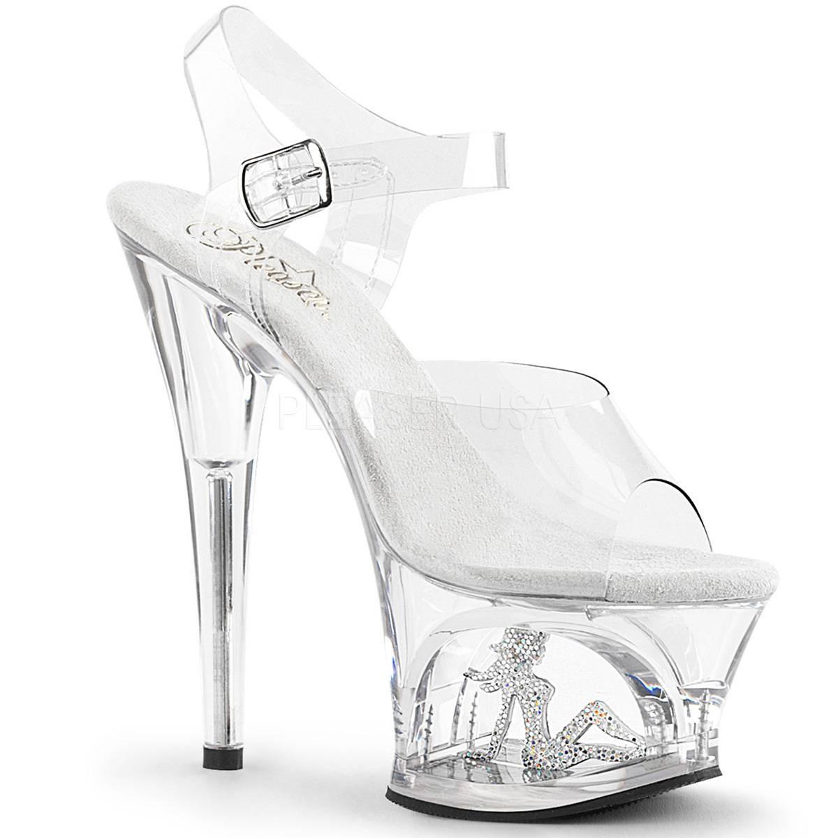 Highheels für Frauen - MOON 708TG ° Damen Sandalette ° TransparentMatt ° Pleaser  - Onlineshop RedSixty