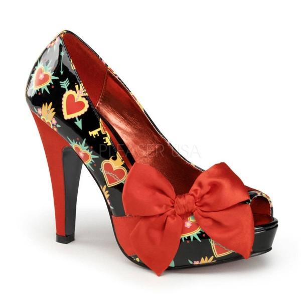 BETTIE 13 ° Damen Peep Toe ° Schwarz Rot Glänzend ° Pin Up Couture