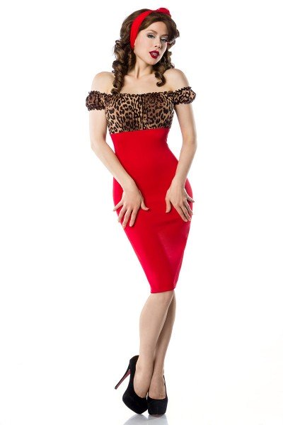 Vintage Pencil-Kleid ° Leo-Rot ° Belsira