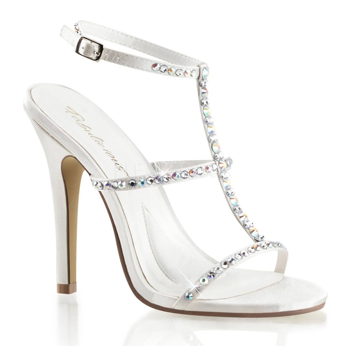 Sandalen - MELODY 18 ° Damen Sandalette ° Weiß Satin ° Fabulicious  - Onlineshop RedSixty