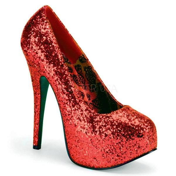 TEEZE 06GW ° Damen Pumps ° Rot Glitter ° Pleaser Pink Label