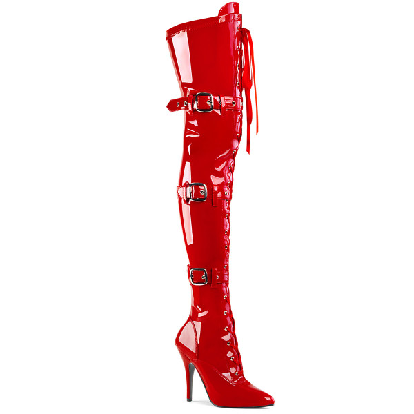 SEDUCE-3028 ° Damen Stiefel ° Rot Stretchlack ° Pleaser
