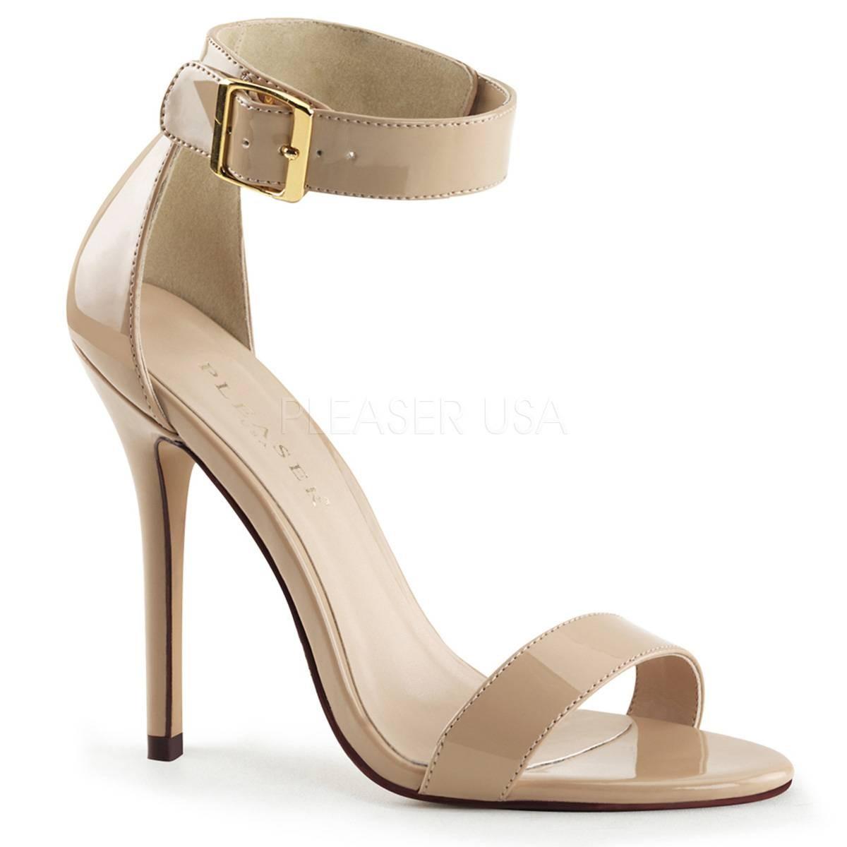 Sandalen - AMUSE 10 ° Damen Sandalette ° Beige Glänzend ° Pleaser  - Onlineshop RedSixty