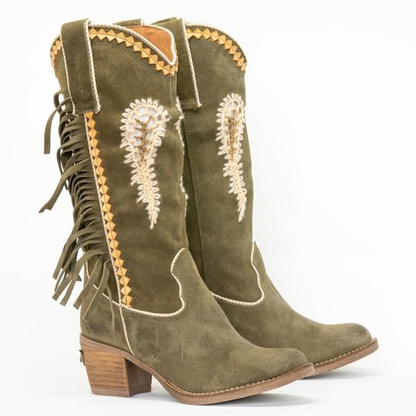 Nemonic ° Boho Wildleder Cutout Fransen Boots ° Ante Kaki 2159 ° Grün ° Gold