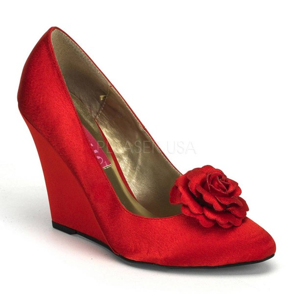 CAMILLE 01 ° Damen Pumps ° Rot Satin ° Bordello