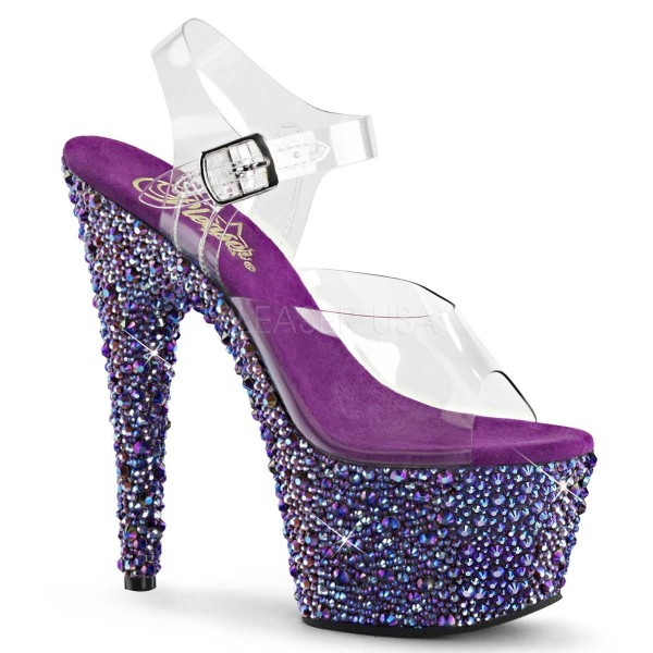 BEJEWELED 708MS ° Damen Sandalette ° Transparent Matt ° Pleaser