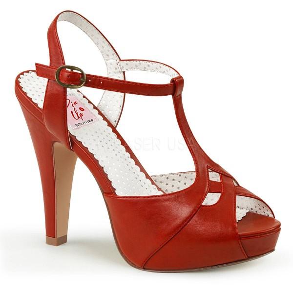 BETTIE 23 ° Damen Sandalette ° RotMatt ° Pin Up Couture