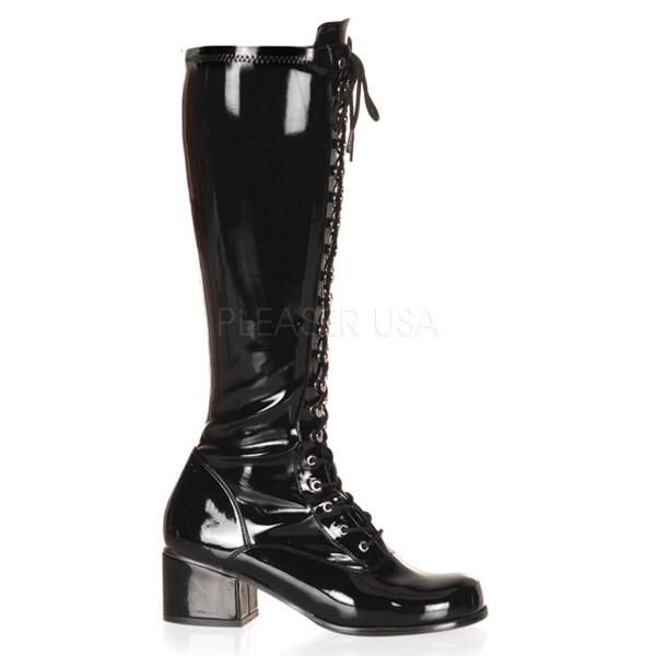 RETRO 302 ° Damen Stiefel ° Schwarz Glänzend ° Funtasma
