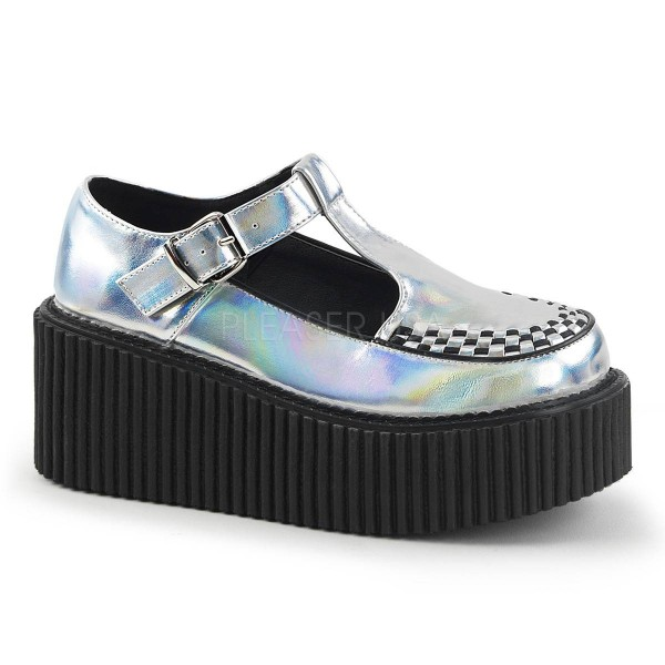 CREEPER 214 ° Damen Creeper ° SilberMatt ° Demonia