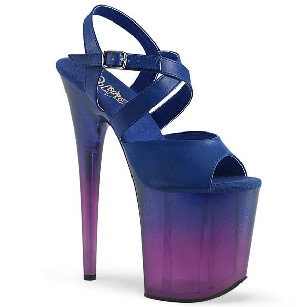 FLAMINGO-822T ° Plateau Exotic Dancing Damen Sandale ° Blau ° Violett Ombré ° Pleaser