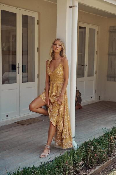 Jaase ° Rio Print Augusta Maxi Dress ° Gelb