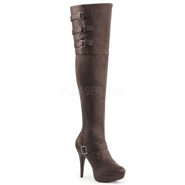 CHLOE 308 ° Damen Overknee Stiefel ° BraunMatt ° Pleaser Pink Label