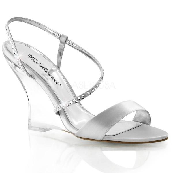 LOVELY 417 ° Damen Sandalette ° Silber Satin ° Fabulicious
