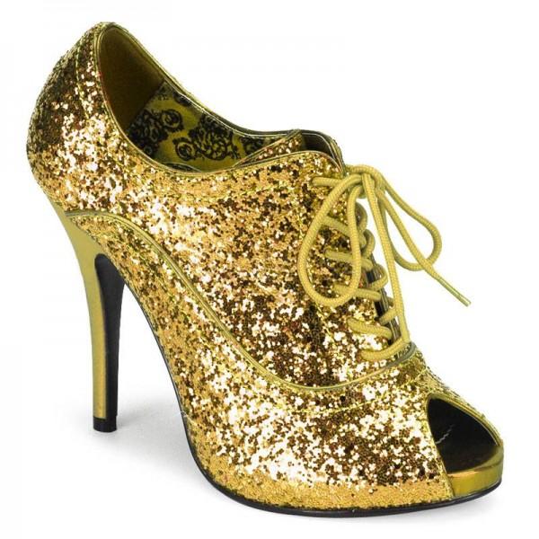 WINK 01G ° Damen Peep Toe ° Gold Glitter ° Bordello