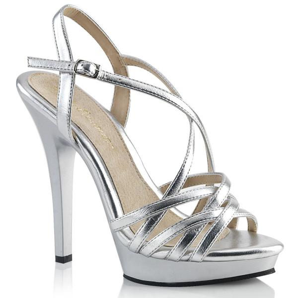 LIP-113 ° Damen Sandale ° Silber metallisch ° Schwarz ° Fabulicious