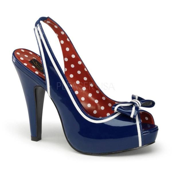 BETTIE 05 ° Damen Sandalette ° Blau Weiß Glänzend ° Pin Up Couture