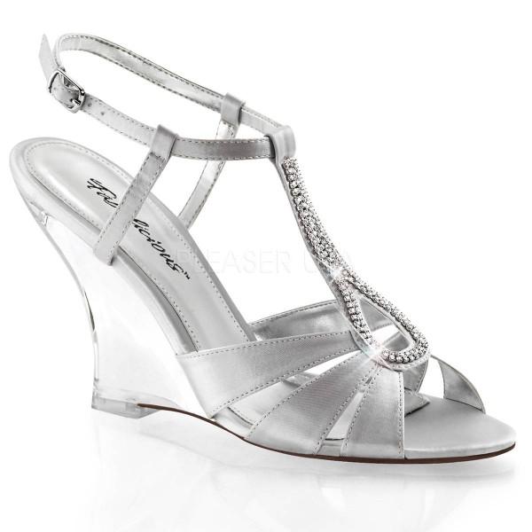 LOVELY 420 ° Damen Sandalette ° Silber Satin ° Fabulicious