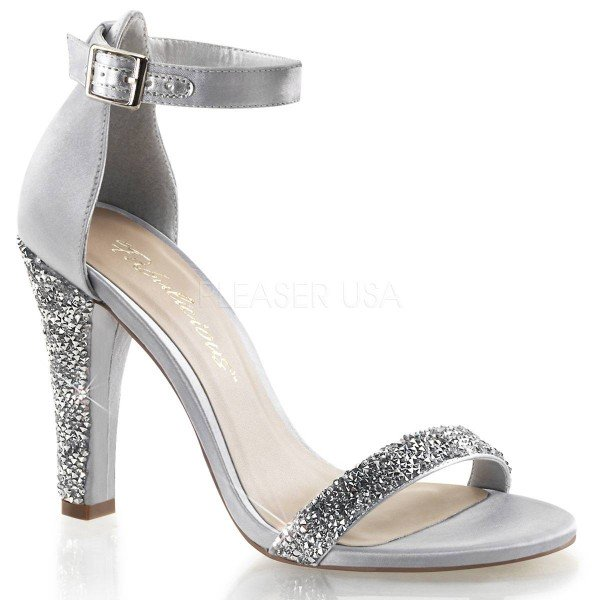 CLEARLY 436 ° Damen Sandalette ° Silber Satin ° Fabulicious