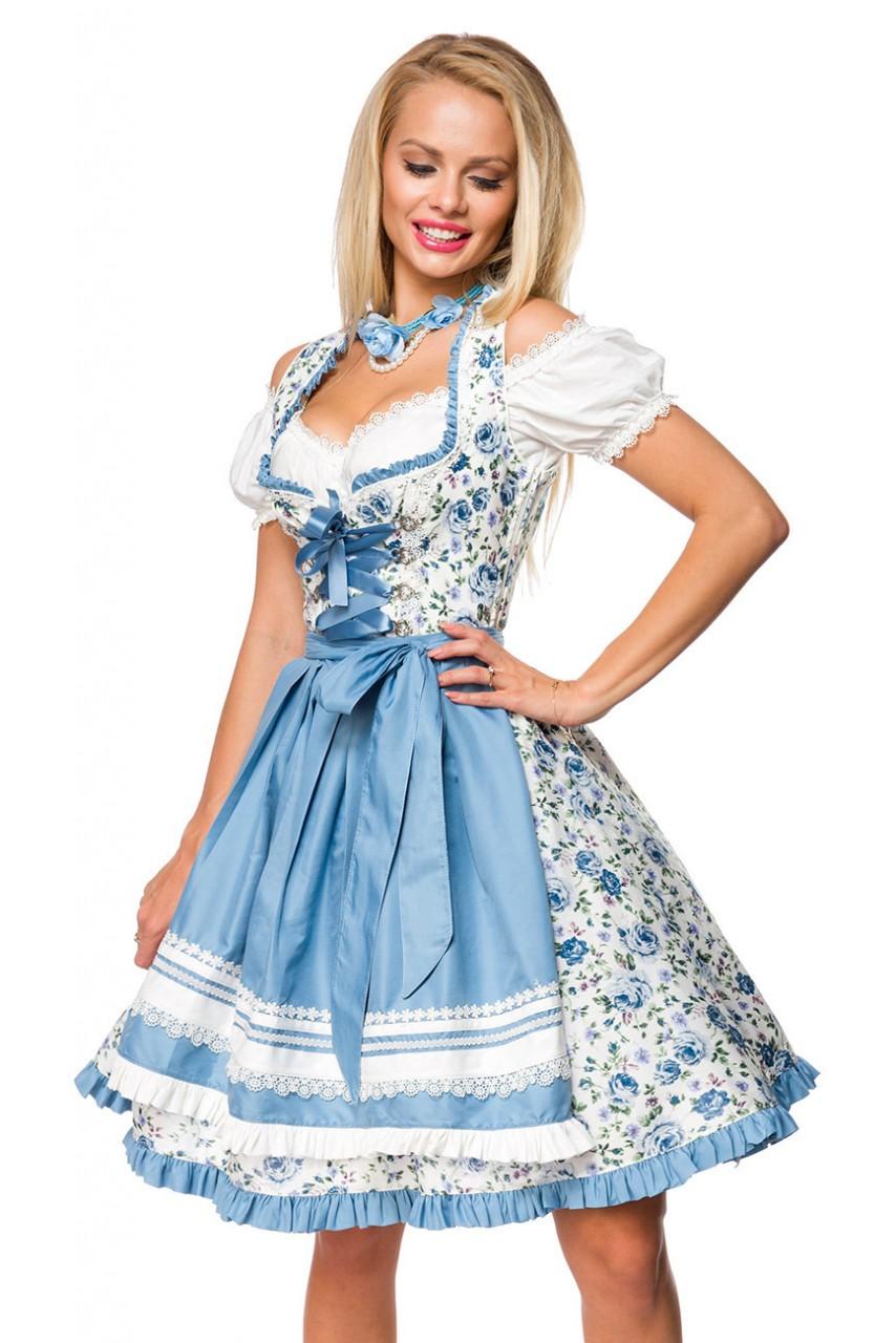 Kleider - Romatisches Blümchen Dirndl ° Weiß Blau ° Dirndline  - Onlineshop RedSixty