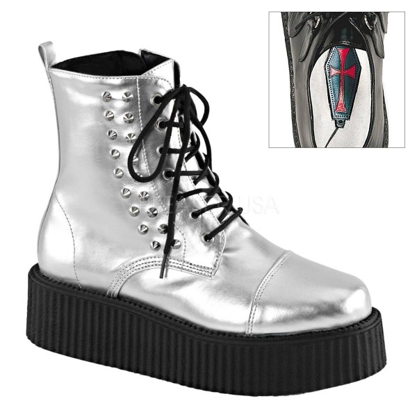 V CREEPER 573 ° Unisex Creeper Boots ° Weiß Matt ° Demonia