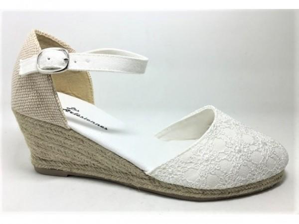 Peachyboo ° Ankle Strap Wedge Sandale ° Weiß