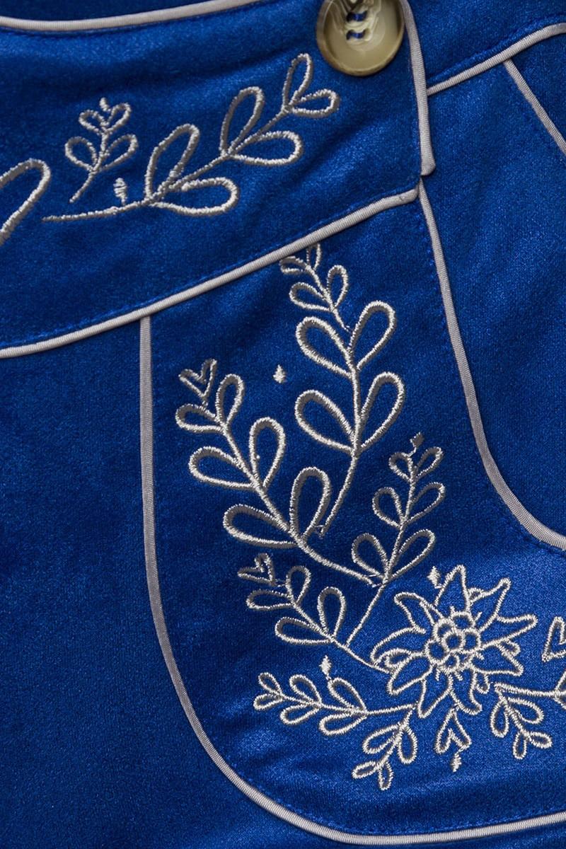 Hosen - Trachtenshorts mit Stickereien ° Blau ° Dirndline  - Onlineshop RedSixty
