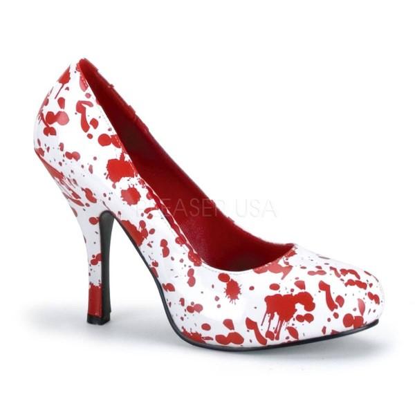 BLOODY 12 ° Damen Pumps ° Weiß Rot Glänzend ° Funtasma