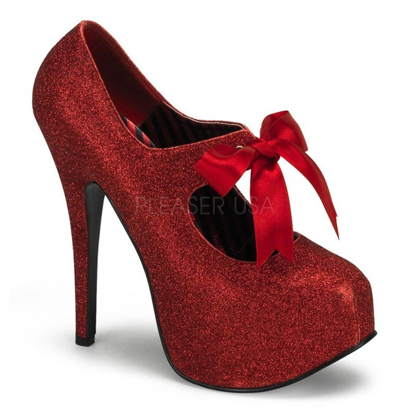 TEEZE 04G ° Damen Pumps ° Rot Glitter ° Bordello