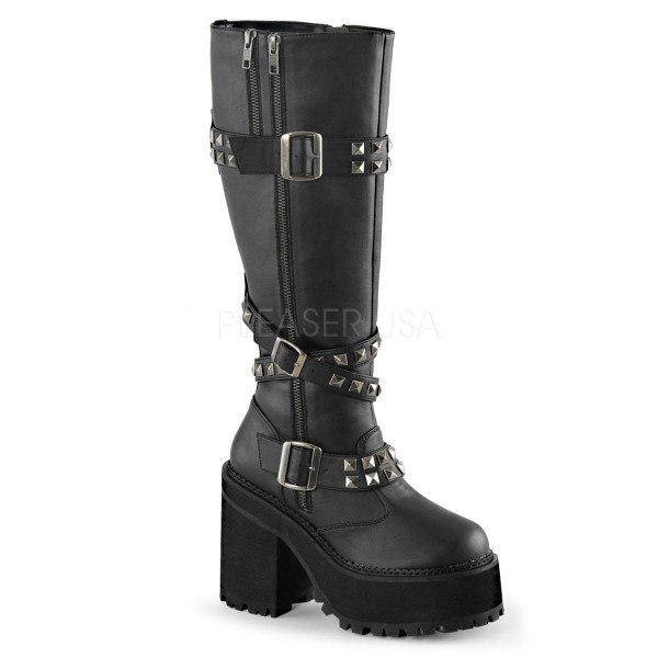 ASSAULT 203 ° Damen Plateaustiefel ° Schwarz Matt ° Demonia