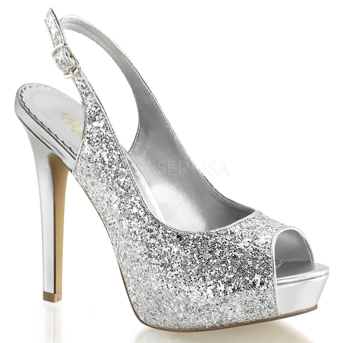 Highheels für Frauen - LUMINA 28G ° Damen Peep Toe Sandalette ° Silber Glitter ° Fabulicious  - Onlineshop RedSixty