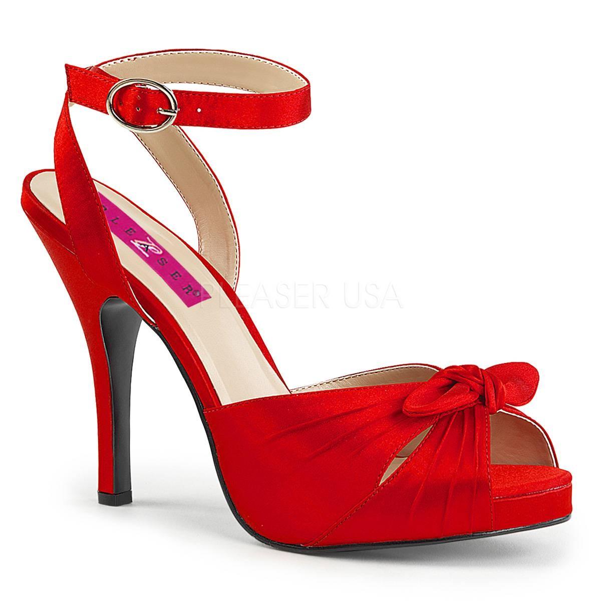 Sandalen - EVE 01 ° Damen Sandalette ° RotSatin ° Pleaser Pink Label  - Onlineshop RedSixty